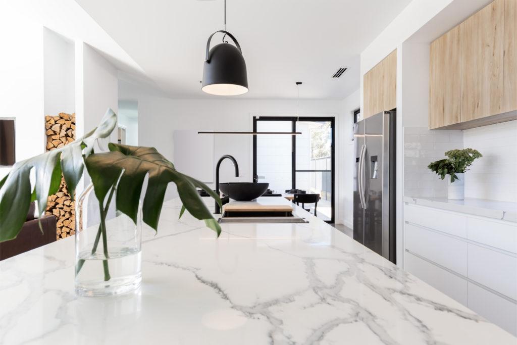 white cararra marble countertop